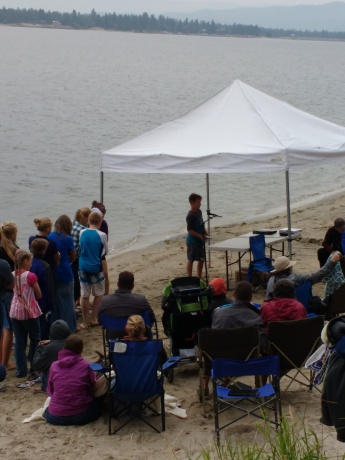Baptisms at family camp (including Malachi's)